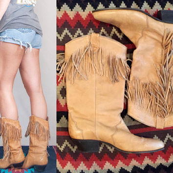Cowgirl Costume Boots 7.5 | Tan Leather Fringe Boots Size 7 | 80s womens vintage cowboy western light brown boho leather biker southwestern