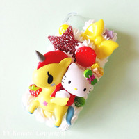 Kitty vs tokidoki unicorno kawaii decoden phone case for iPhone 4/4s, 5, Samsung Galaxy S2 S3 S4, iPod touch, HTC One