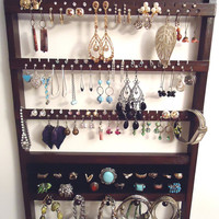 Jewelry Organizer, 20 RING Holder, 54-108 Pair EARRING Display, 16 Peg NECKLACE Bracelet Holder, Oak, Wood, Cocoa Brown, Ready To Ship