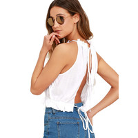 Women Top 2017 New Women's Fashion Sexy Summer Tie Back Camis Tied Strap Crop Tops Backless Tank Tops Cross Camisole