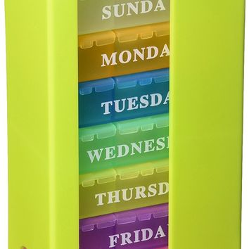 Pill Organizer Weekly Standing Rainbow Pill Box with 3 Large Compartments Medicine Reminder