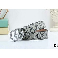 GUCCI 2018 new men and women classic double G printing belt #11