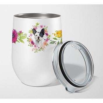 Black and White Frenchie Pink Flowers Stainless Steel 12 oz Stemless Wine Glass CK4260TBL12