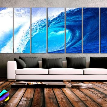 "XXLARGE 30""x 96"" 8 Panels Art Canvas Print beautiful Beach Ocean Sea Wave Blue Wall Home Decor interior (Included framed 1.5""depth)"