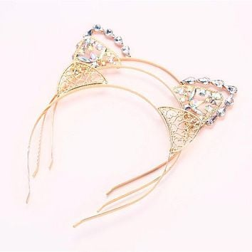 Women Girl Kind Hair Hoops Cat Ears Hairband Crown Tiara headband Rhinestone Princess Hollow Hairband Hair Jewelry