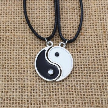 1Pair Couples Vintage Best Friend Black White Enamel Tai Chi Yin Yang Pendant Women Men PU Leather Necklace Friendship Jewelry