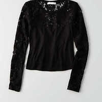 Don't Ask Why Lace Sleeve Top , Black