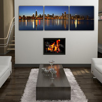Chicago Skyline Canvas - Set of 3