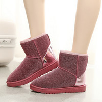 Fashion Women's Comfortable Soft Sequins Shoes Warm Winter Snow Boots