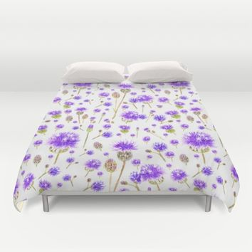 purple blue wild flower Duvet Cover by Color And Color