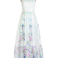 ModCloth Pastel Long Sleeveless Maxi Wall of Flowers Dress