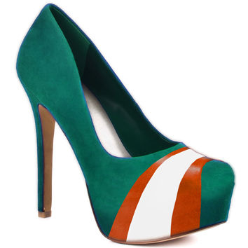 HERSTAR™ Turquoise Orange White Team Color Suede Pumps