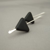 Black Triangle Czech Glass Geometric Sterling Silver Modern Dangle Earrings | The Silver Forge Handcrafted Jewellery