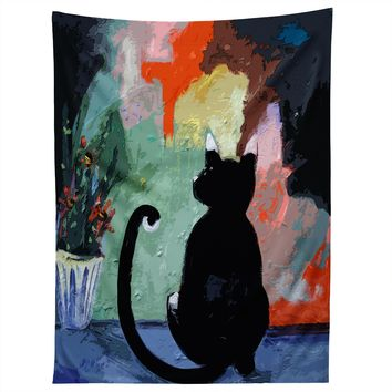 Ginette Fine Art Black Cat Tapestry