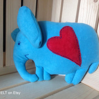 Textile stuffed blue elphant with red heart, soft toy, stuffed toy,plush handmade toys,soft toy,high quality fabric,children gift,home decor