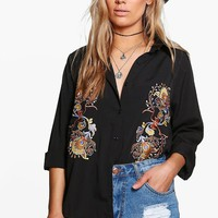 Plus Louise Embroidered Shirt | Boohoo