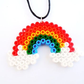 Colourful Rainbow Fuse Beads Necklace Pendant Laminated Handmade Jewelry