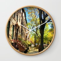 Cobble Hill Brooklyn New York in the Fall, Brownstones Wall Clock by ANoelleJay