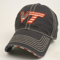 Legacy Virginia Tech Hokies Navy USA Flag Adjustable Slouch Hat Cap