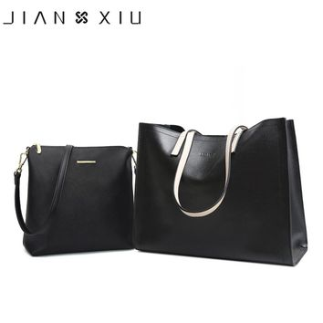 JIANXIU Brand Split Leather Bag Cross Texture Women Messenger Bags Shoulder Crossbody Luxury Handbag Large Women Tote Sleeve Bag