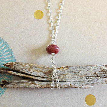 Cranberry Wood Chip Necklace - Sterling and Silver Plated Chain, Nature Boho Red Magnesite Stone Bead
