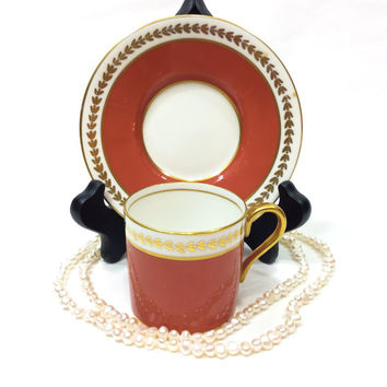 Aynsley Tea Cup and Saucer, Aynsley Demitasse, Orange Rust, Salmon Demitasse Cup, Gold Trim, English Bone China, 1950s, Vintage