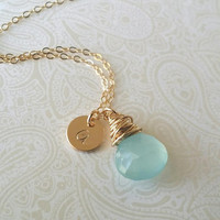 Personalized Initial Necklace in Gold with Seafoam Aqua Chalcedony Briolette Wire Wrapped-Gift for Friend, New Mom Sister