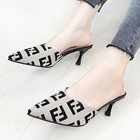 Fendi New fashion more letter print high heels shoes women 4#