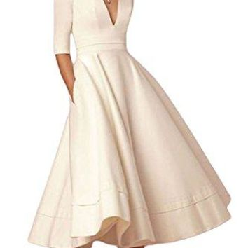 YMING Vintage 1950's Style Dress Deep V-Neck Prom & Homecoming Swing Dress White XL