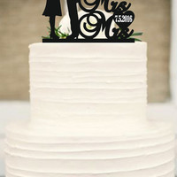 Same Sex Cake Topper,lesbian Cake Topper,Mrs and Mrs Wedding Cake Topper, Wedding Silhouette Couple Cake Topper,Rustic Wedding Cake Topper