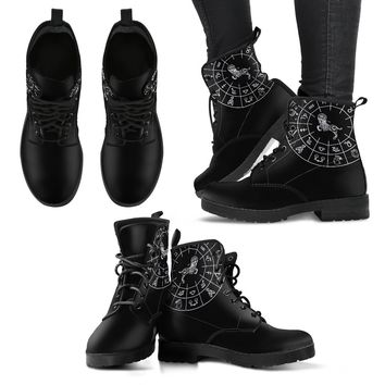 Aries Black Zodiac Women's Leather Boots