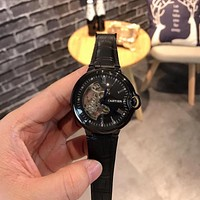 DCCK2 C008 Cartier Hollow Automatic Machinery Leather Watchand Watches Black