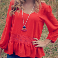 Darling Valentine Red Ruffle Top