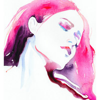 """Fashion Illustration, Watercolor, Print 8"""" x 10"""" - Rose Limited Edition"""