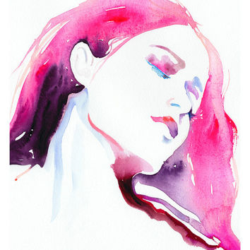 "Fashion Illustration, Watercolor, Print 8"" x 10"" - Rose Limited Edition"