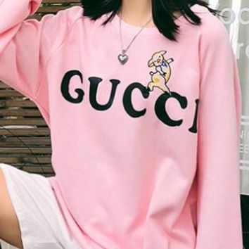 GUCCI Fashin Women Men Casual Cute Small Pig Embroidery Print Long Sleeve Round Collar Sweater Top Sweatshirt Pink I13896-1