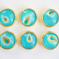Blue Peacock Glass Knobs- Brass or Brushed Nickel