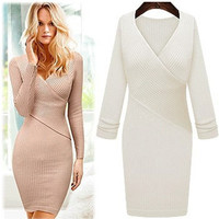 Sexy Long sleeve V-Neck Dress