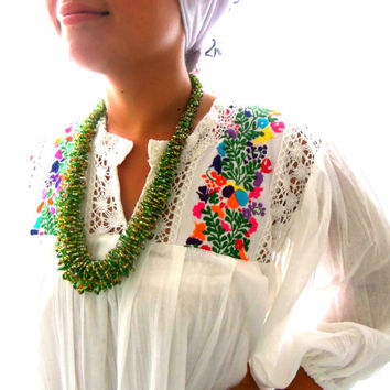 Gypsy  Tunic Mexican Embroidered Mini Dress by elizabethpalmer