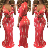 Red Plunge Crop Top and Fitted Long Skirt Set