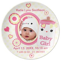 Custom Birth Announcement Girl Baby Keepsake Plate Porcelain Plate