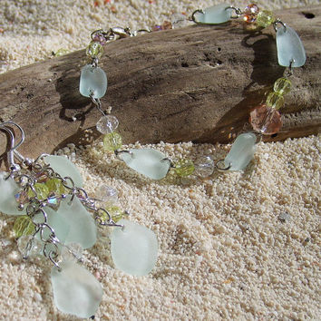 Sea glass jewelry set, Beach glass bracelet earrings set for beach lovers, Genuine sea glass with crystals, Beach wedding gift, Gift for her