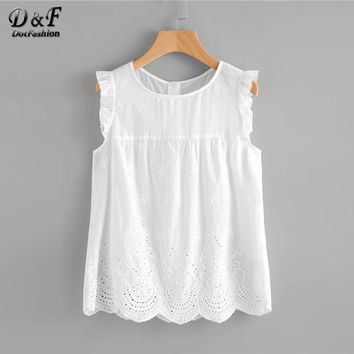 Dotfashion Eyelet Embroidered Scallop Hem Frilled Shell Top Women Round Neck Sleeveless Blouse 2018 White Cotton Summer Tops