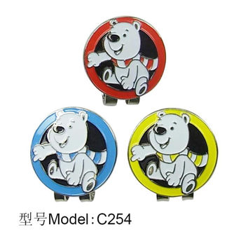 Free Shipping 3pcs/lot Polar bear Golf Ball Marker with Magnetic Golf Hat Visor Clips, 3 Colors