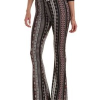 Black Combo Tribal Print Knit Flare Pants by Charlotte Russe