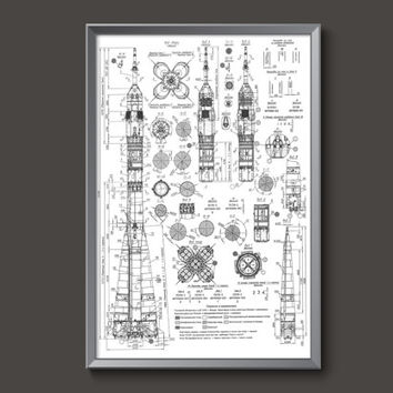 Vintage Russian Soyuz Rocket Blueprint Plans Poster // blueprints plans rockets spacecraft space race USSR russians orbit NASA cosmonaut