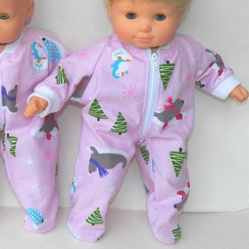 "Handmade Clothes For Bitty Baby Twin Girl or Baby Doll Doll 15"" Flannel Zip Up Pajamas Pj Sleeper Pink Penguin Seal Christmas Tree"