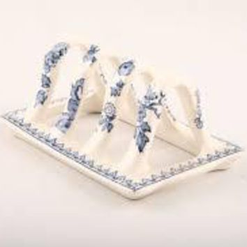 Masons Vintage English Blue & White Chinoiserie Transferware Toast Rack / Letter Organizer