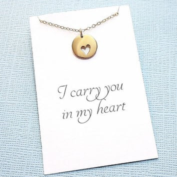 Miscarriage Necklace | Heart Charm Necklace | Infant Loss Jewelry | Sympathy Gift | Loss of a Child | Sympathy Card | Gold or Silver | R01