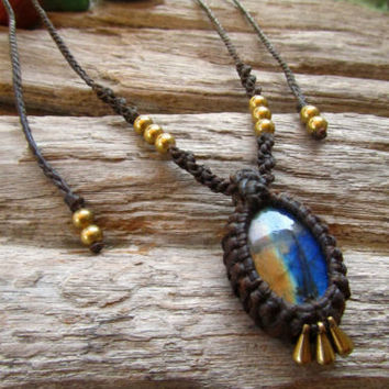 Labradorite Stone Macrame Necklace Long or Short Necklace Fesival Tribal Travel | eBay